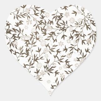 sepia toned wildflowers heart sticker