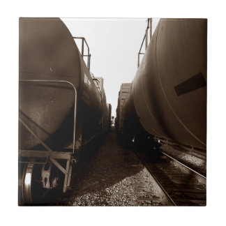 Sepia Train Yard Cars Visual Tile for Gift Box