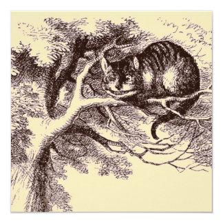 Sepia Vintage Cheshire Cat Alice in Wonderland 13 Cm X 13 Cm Square Invitation Card