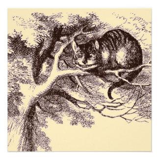 Sepia Vintage Cheshire Cat Alice in Wonderland Custom Invitations