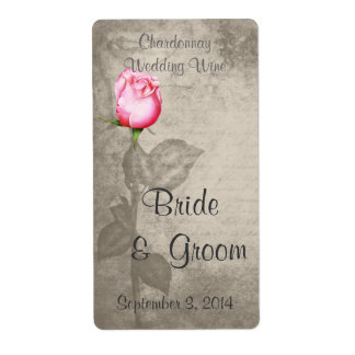 Sepia Vintage Spot Color Pink Rose  Wedding Wine Shipping Label