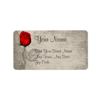 Sepia Vintage Spot Color Red Rosebud Wedding Address Label