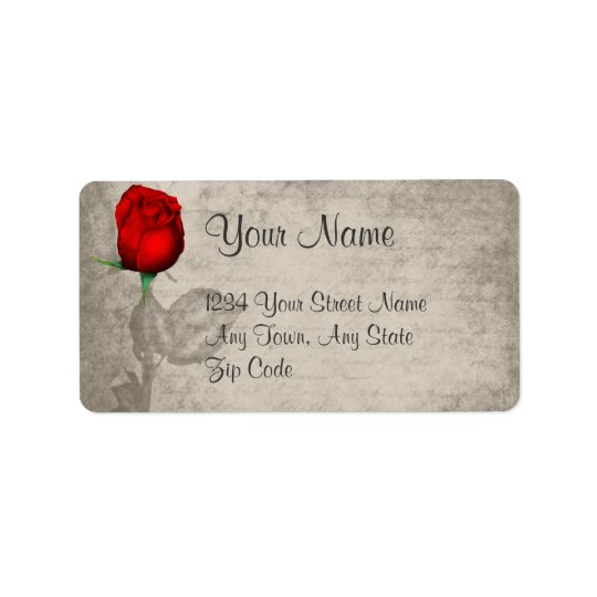 Sepia Vintage Spot Colour Red Rosebud Wedding Address Label