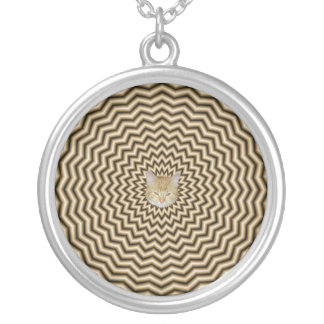 Sepia Zigzag Ripples Necklace + cat