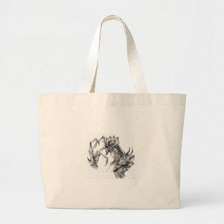 Septar - Evil Monster - Black & White Pen Sketch Large Tote Bag