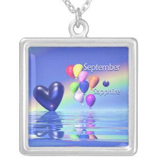 September Birthday Sapphire Heart Custom Necklace