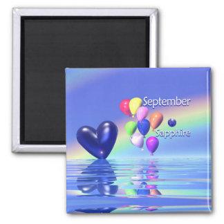 September Birthday Sapphire Heart Square Magnet