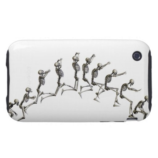 Sequence illustrating a human skeleton jumping iPhone 3 tough cover