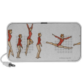 Sequence of illustrations showing female gymnast travelling speakers