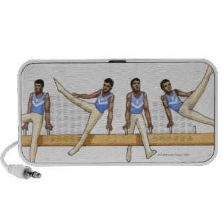 Sequence of illustrations showing male gymnast iPod speaker