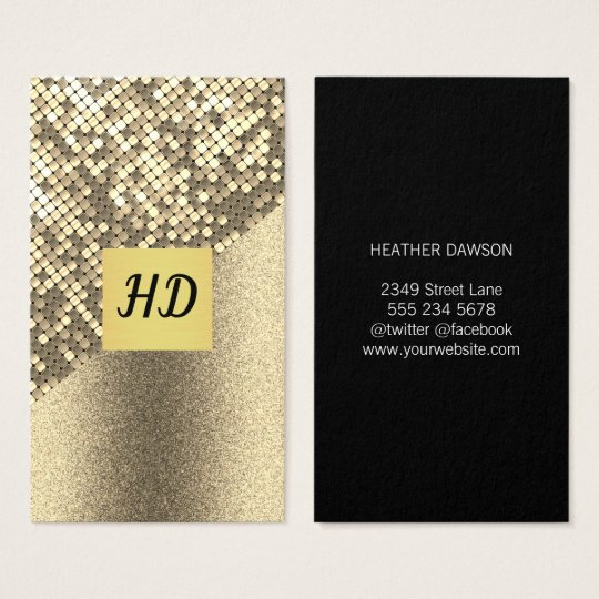 Sequin and Glitter / Gold Lux / Monogram Business Card