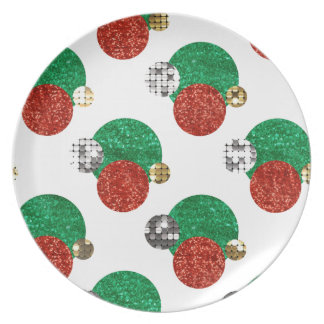 sequin christmas dots plate
