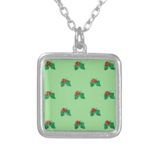 sequin christmas Holly Silver Plated Necklace