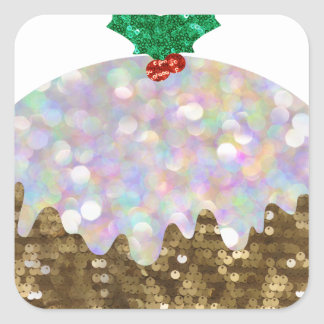 sequin christmas puddings square sticker