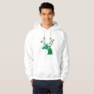 sequin christmas reindeer mens hooded sweatshirt