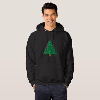 sequin christmas tree mens hooded sweatshirt