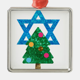 sequin christmukkah hanukkah metal ornament