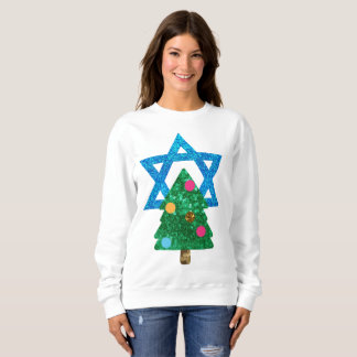 sequin christmukkah hanukkah womens sweatshirt