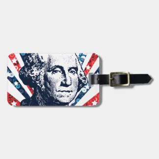 sequin george washington luggage tag