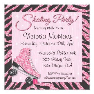 Sequin Glittering Roller Skating Party Invitations