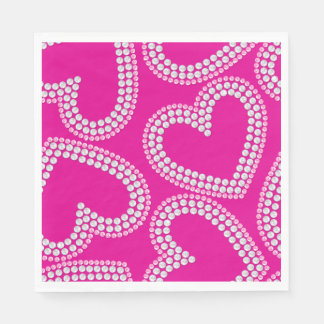 Sequin hearts disposable napkin