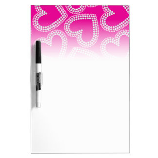 Sequin hearts dry erase whiteboard