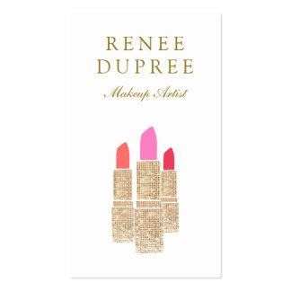 Sequin Lipstick Logo Makeup Artist Beauty Salon Business Cards