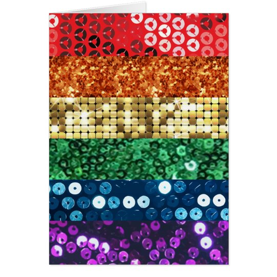 sequin pride flag card