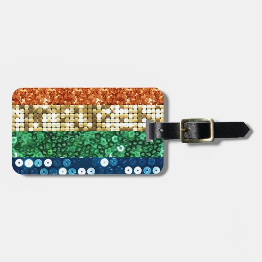 sequin pride flag luggage tag