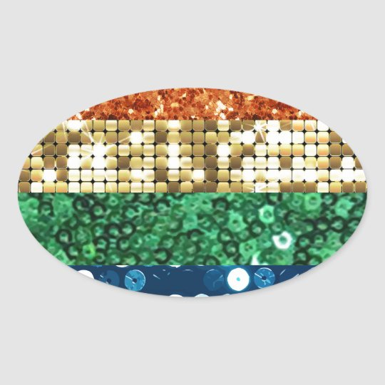 sequin pride flag oval sticker