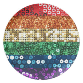 sequin pride flag plate