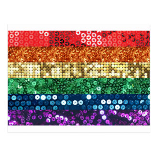 sequin pride flag postcard