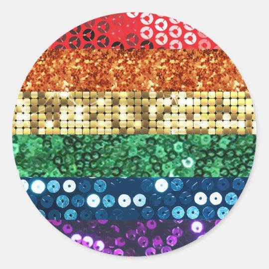 sequin pride flag round sticker