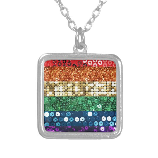 sequin pride flag silver plated necklace