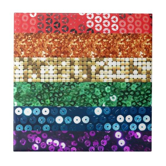 sequin pride flag small square tile