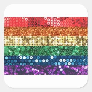 sequin pride flag square sticker