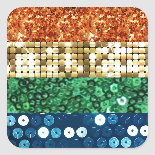 sequin pride flag square sticker