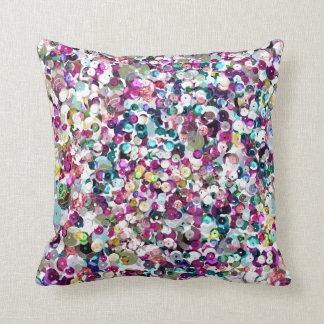 Sequin Sparkles Rainbow Throw Pillow