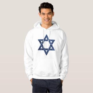 sequin star of david mens hooded hoodie sweatshirt