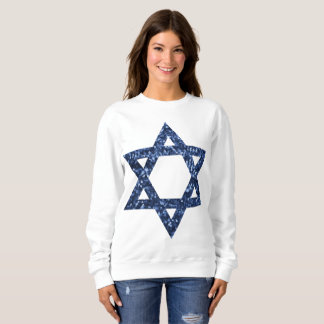 sequin star of david womens sweatshirt