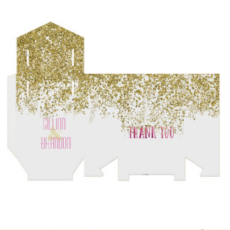 Sequined Gold and Rose Watercolor Thank You Favour Box