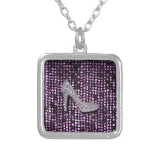 Sequins High Heel shoe purple silver Square Pendant Necklace