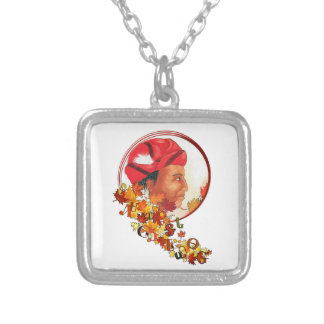 """Sequoyah & the Cherokee Syllabary """"Talking Leaves"""" Silver Plated Necklace"""
