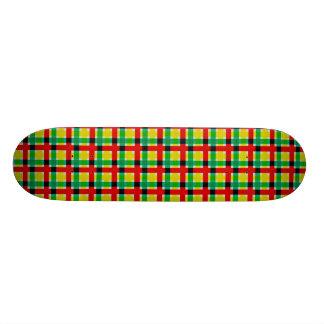 Serape Red Yellow Green Plaid Skateboard