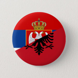 serbia albania flag country half symbol 6 cm round badge