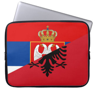 serbia albania flag country half symbol laptop sleeve