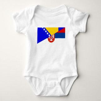 serbia bosnia Herzegovina flag country half symbol Baby Bodysuit