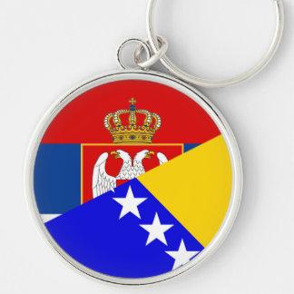 serbia bosnia Herzegovina flag country half symbol Key Ring