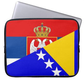 serbia bosnia Herzegovina flag country half symbol Laptop Sleeve