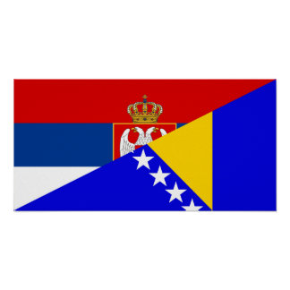 serbia bosnia Herzegovina flag country half symbol Poster